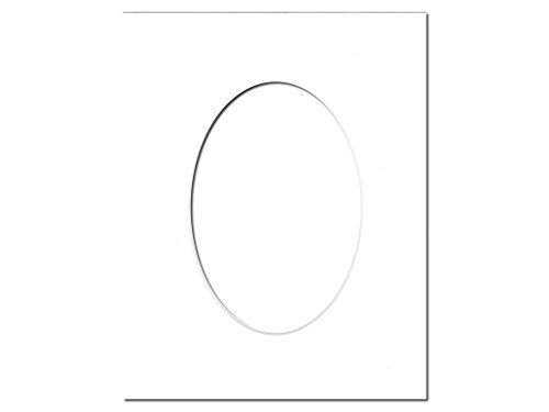 (PA Framing Single Oval Photo Mat Board - Black Core, White)