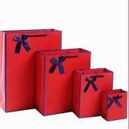 オシャレな紙袋プレゼントギフト[大中小3サイズ各2枚セット](赤)