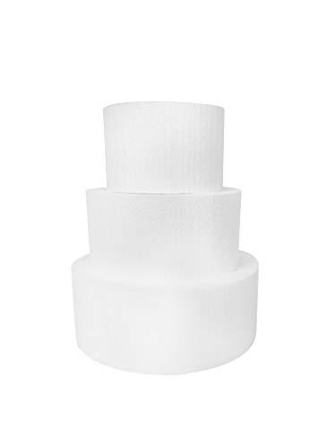 """Round 4"""" Cake Dummies - Set Of 3, Each 4"""" High by 6"""", 8"""", 10"""" Round"""