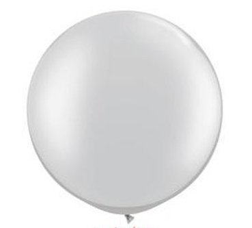36 Inch Giant Round Silver Latex Balloons by TUFTEX (Premium Helium Quality) Pkg/3