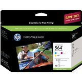 HP 564 Cyan, Magenta & Yellow Original Ink Cartridges with Photo Paper, 3 pack (CG925AN)