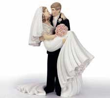 Threshold of Happiness Bride and Groom Wedding Cake (Groom Carrying Bride Cake Topper)