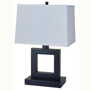 (HPP Inc Table Lamp with Square Cutout Base in Dark Bronze Finish)