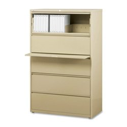 Lorell 5-Drawer Lateral File, 42 by 18-5/8 by 67-11/16-Inch, Putty by Lorell