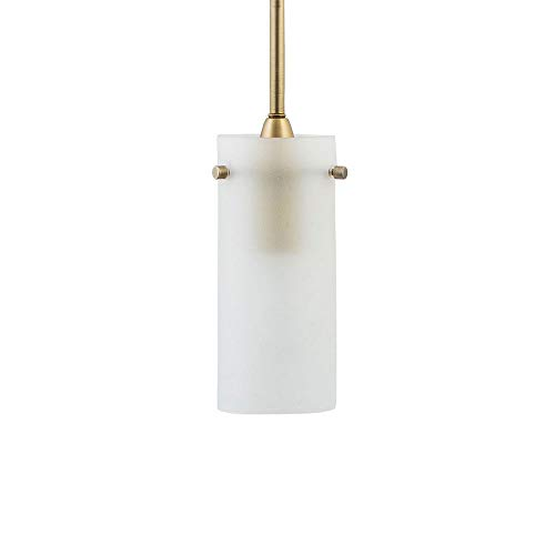 Effimero Small Hanging Pendant Light | Satin Brass Kitchen Island Light, Frosted Glass Shade LL-P316F-SB