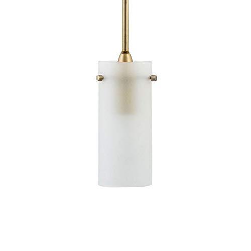 Brass Pendant Stem - Effimero Small Hanging Pendant Light | Satin Brass Kitchen Island Light, Frosted Glass Shade LL-P316F-SB