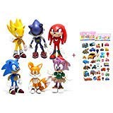 6 Pcs Sonic the Hedgehog Action Figures, Cake Toppers, 2.4'