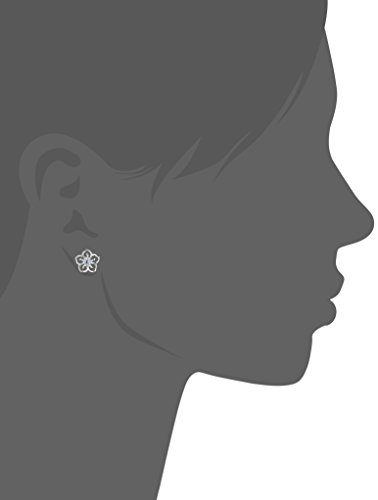 Sterling Silver Created Aquamarine Flower Stud Earrings