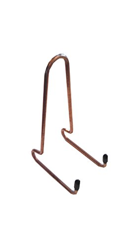 - Book Stand, Straight Back, Copper Colored Steel, with Black Plastic Tips.