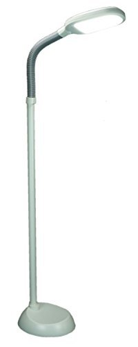 LED Floor Lamp Bright-Reader Full Spectrum by Home Concept Hi-Output 2,100 LUX, Dimmable, Energy Efficient 12w, 6,400k (for Reading, Knitting, Hobbies) Almond color with Grey adjustable goose-neck