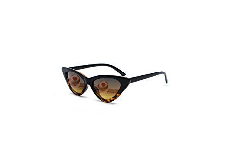 Prime Sale Day Deals Week 2018-Retro Vintage Narrow Cat Eye Sunglasses for Women Clout Goggles Plastic Frame (Black Leopard)