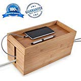 Bamboo Cable Management Box Organizer - Neatly Tucks Away Charging Cables, TV Cords, Power Strips and Surge Protectors - Perfect Eco-Friendly Organizing Solution For Home Office - by GreenSolis