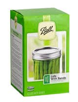 Ball WIDE mouth canning/mason jar, LIDS & BANDS (rings),12 lids and 12 bands or 1 dozen. Combined with One (1 cap only) Ball Wide Plastic Storage Cap.