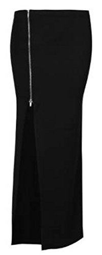 Fashion charming-womens cremallera laterales Split Celebrity Gypsy Largo Maxi falda negro