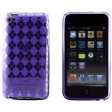 Purple Argyle Checker Flexi Gel Skin Case for Apple iTouch 4 (iPod Touch 4th Generation)