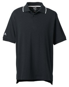 Adidas Mens ClimaLite Tour Jersey Short Sleeve Polo Shirt - BLACK/WHITE - Medium
