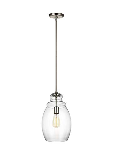 Feiss P1484SN Marino Glass Pendant Lighting, 1-Light, 60 Watts, Satin Nickel (9
