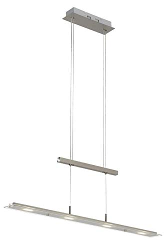 Briloner Leuchten 4005-012 Lampara de techo LED para mesa de comedor, salon, 18 W, 1600 lumenes, altura regulable, cristal parcialmente satinado, 850 x 1.700 mm (largo x alto), niquel mate