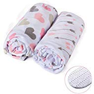Universal Sleeper Co (Momcozy Universal Bassinet Sheets Set 2 Pack for Girls, Soft & Breathable 100% Cotton, Fitted Elastic Design, Pink Heart & Arrows, Fits Oval Halo, Chicco Lullago, Arms Reach, Ingenuity)