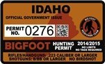 "Idaho ID Bigfoot Hunting Permit 2.4"" x 4"" Decal Sticker"