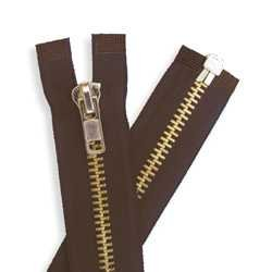 Tandy Leathercraft Chap Zipper Brown / Brass Teeth 24