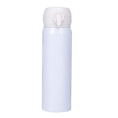 Admire U Travel Mug: Stainless Steel Leak Proof Vacuum Water Beverage Bottle with Flip-on Lip for Men and Women; Coffee and Tea Friendly 16 oz,White
