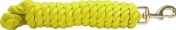 Yellow Braided Cotton Lead Rope 10' w/ Brass Snap Showman