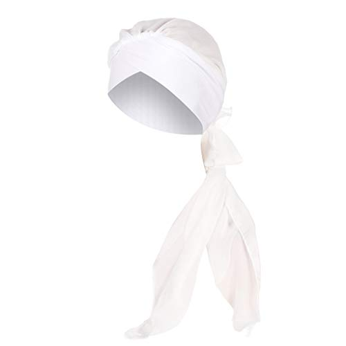 - Women Solid India Hat Muslim Ruffle Cancer Chemo Beanie Turban Wrap Scarf Cap White