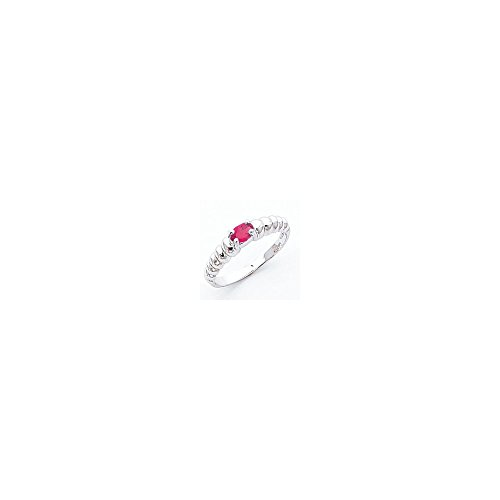 Jewelry Adviser Rings 14k White Gold 5x3mm Oval Pink Tourmaline ring