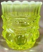 Vaseline Opalescent Glass Eyewinker Pattern Toothpick Holder ()