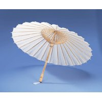 Darice VL6633 Parasol Natural Paper Bamboo Umbrella, 32-Inch, White (Paper Parasol Umbrella)