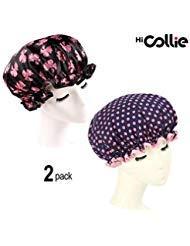 HiCollie 2 Pack Fashionable Women Waterproof Shower Bath Cap]()