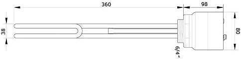 Generisch HEIZELEMENT HEIZSTAB HEIZPATRONE 3KW,3000 W NEU 6//4 1 1//2 BRAUCHWASSER mit Thermostat