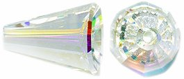 Swarovski 5540 Artemis Cone Beads, Aurora Borealis Finish, 9 by 12mm, Crystal, 2-Pack ()