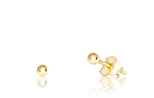 Premium 14K Yellow Gold Ball Stud Earrings (2mm - Yellow Gold) ()