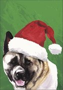 Akita Santa Hat Dog Breed Flag 28