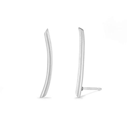 Boma Jewelry Sterling Silver Minimalist Long Curved Bar Ear Crawler Stud Earrings