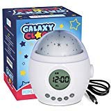 Galaxy Clock by MomKnows. Soothing Star Projector Sound Machine. Relaxing Night Light With Nature Sounds and White Noise. Kids Baby Ceiling Projection Alarm Clock Lamp