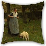 - Artistdecor Oil Painting Anton Mauve - Woman From Laren With Lamb Throw Pillow Case 18 X 18 Inches / 45 By 45 Cm For Son,car,home Theater,home Office,bedroom,sofa With Each Side