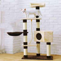 Cat Tower Trees Cats Cozy Deluxe Perches Platform And Play House Warm And Comfortable For Cat Entertainment Clawing Jumping L60xW37xH139cm