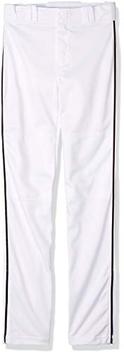CHAMPRO Sports Pro-Plus Open Bottom Pants with Piping, White/Black Pipe, Youth X-Large