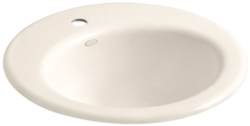 KOHLER K-2917-1-55 Radiant Self-Rimming Bathroom Sink with Single-Hole Faucet Drilling, Innocent Blush (Hole Self Rimming Lavatory Sink)