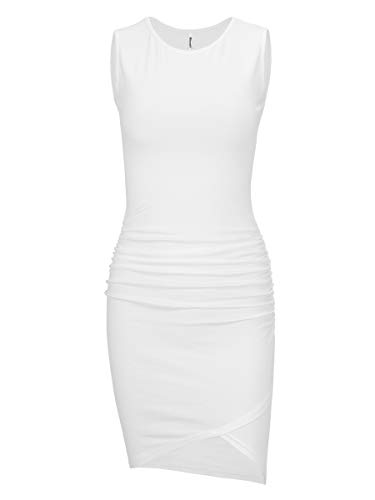 Sleeve Maternity Ruched Dress (Missufe Women's Casual Long Sleeve Ruched Bodycon Sundress Irregular Sheath T Shirt Dress (Sleeveless Cream White-01, X-Small))