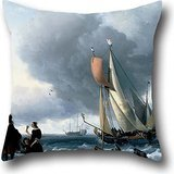 pillowcover of oil painting Ludolf Backhuysen - Dutchman Embarking onto a Yacht 18 x 18 inches / 45 by 45 cm,get the better of fit for son,living room,festival,sofa,home office,son each side