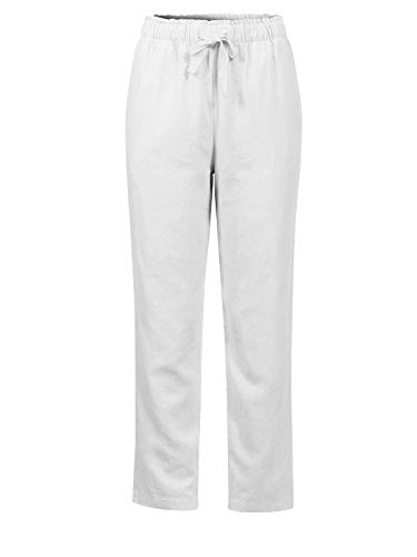 - Design by Olivia Women's Summer Drawstring Cropped Elastic Band Linen Pants White L