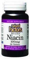 Natural Factors Vitamine B3 Niacine 100mg Tablets, 90-Count (Pack de 2)