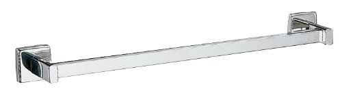 Bobrick 6737x24 304 Stainless Steel Surface Mounted Square Towel Bar, Satin Finish, 24