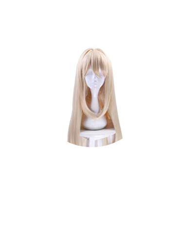 Wigs Long Wave Blonde Synthetic Hair Perucas Wig For Halloween Costume Party+ Cap,Blonde,20inches]()