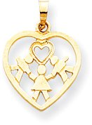 Quality Gold Cut-Out Heart with 2 Boys and 1 Girl Charm, Yellow Gold by Quality Gold