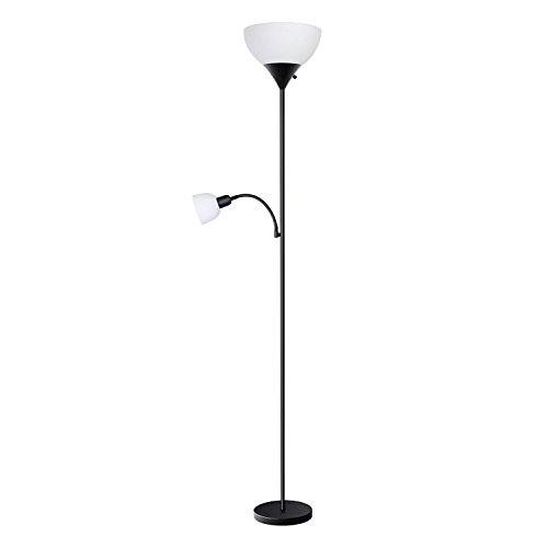 sunllipe HD002ZMH LED Floor Lamp with Reading Light-70.5 Inches Sturdy Standing 9W Energy Saving Uplight for Living Room, Dorm, Bedroom(Black) by sunllipe